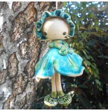 Kerámia  tündér - kékes zöld