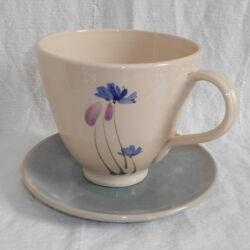 Teás csésze tányérral -  virágos