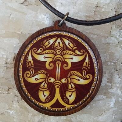 Fa medál 12. - Ősi magyar szimbólum- bordó,  organzával