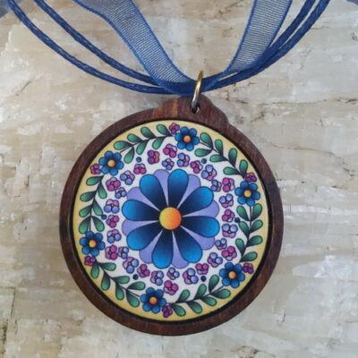 Fa medál 1.  - Ősi magyar szimbólum - kék, organzával