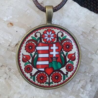 Fém medál 7. -  Magyar címer bordó,  viaszolt szállal