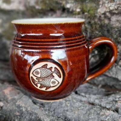 Halak kézműves  bögre - barna