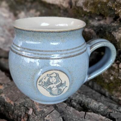 Vízöntő  kézműves  bögre - kék
