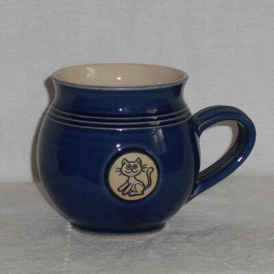 Kék cicás bögre - közepes, emblémás - 2.