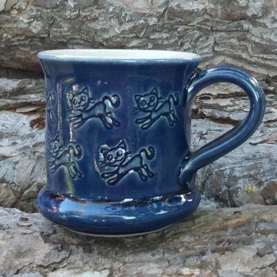 Kék cicás bögre 2. - kicsi, nyomott mintás