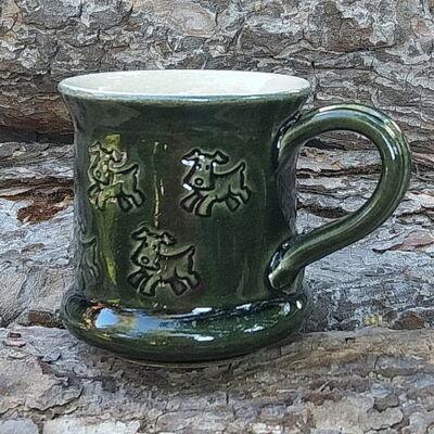 Zöld kutyás bögre 3. - kicsi, nyomott mintás