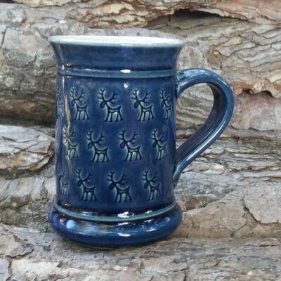 Kék rénszarvasos bögre - nyomott mintás