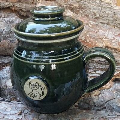Zöld cicás szűrős bögre, emblémás  - pufi