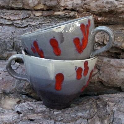Teás bögre - szürke-bordó