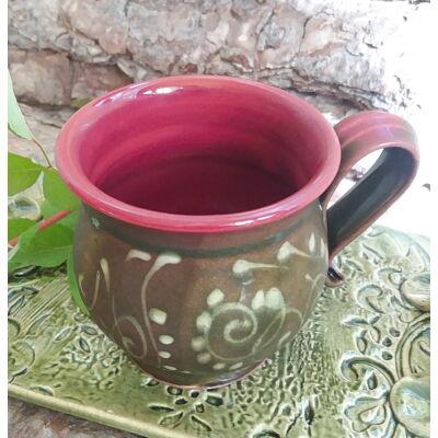 Zöld-bordó cappuccino csésze