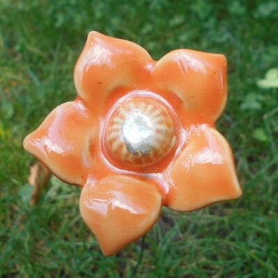Narancssárga kerámia virág 2.