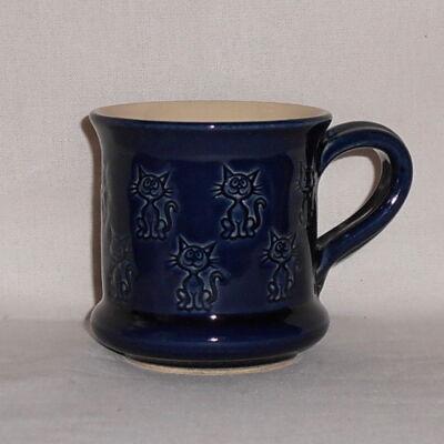 Kék cicás bögre - kicsi, nyomott mintás