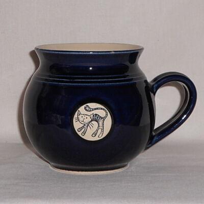Kék cicás bögre - közepes, emblémás