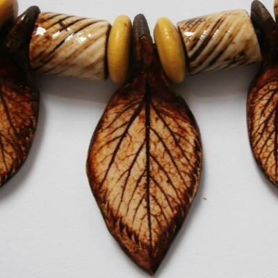 Kerámia nyaklánc 3.- sárga-barna