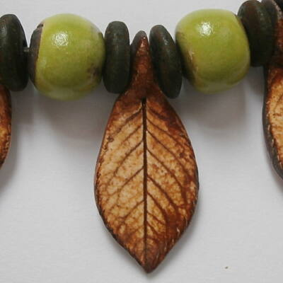 Kerámia nyaklánc 5.- zöld-barna