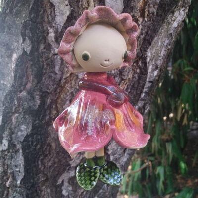 Kerámia  tündér -  sötét rózsaszín