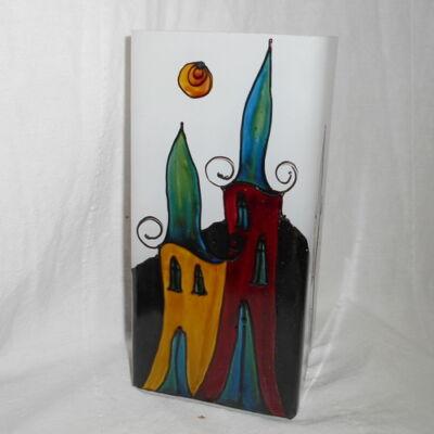 Festett üveg  lámpa - házas