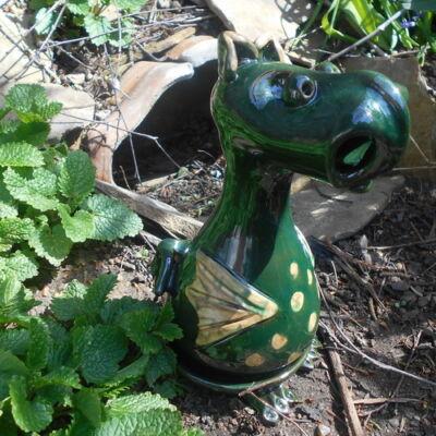 Füstölő sárkány - füstölőtartó, sötétzöld, pöttyös