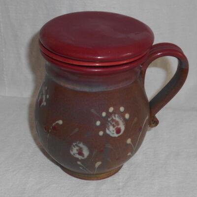Szűrős bögre 2. - barna-bordó virágos