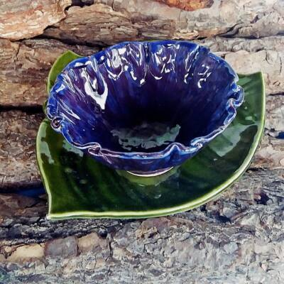 Lila virágos müzlis tál (alátét nélkül)