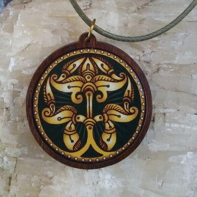 Fa medál 4.  - Ősi magyar szimbólum  - zöld, viaszolt szállal