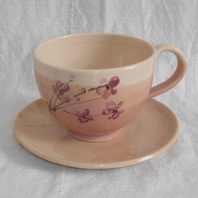 Cappuccino bögre csésze aljjal- rózsaszín