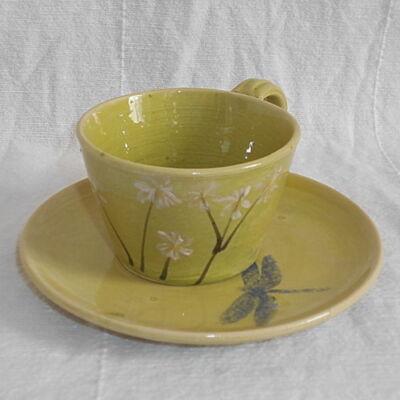 Capuccino csésze aljjal- zöld