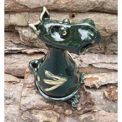 Füstölő sárkány - füstölőtartó, sötétzöld, pöttyös 2.