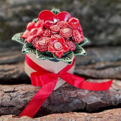 Piros kerámia virág box -  kicsi